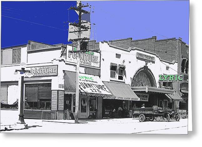 Soldier Of Fortune Greeting Cards - Film homage Allan Dwan Soldiers of Fortune 1919 #2 Lyric Theater Tucson Arizona 1919-2008  Greeting Card by David Lee Guss