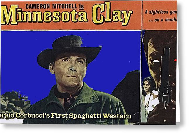 Cameron Mitchell Photographs Greeting Cards - Film Homage Cameron Mitchell Minnesota Clay Lobby Card 1964-2013 Greeting Card by David Lee Guss