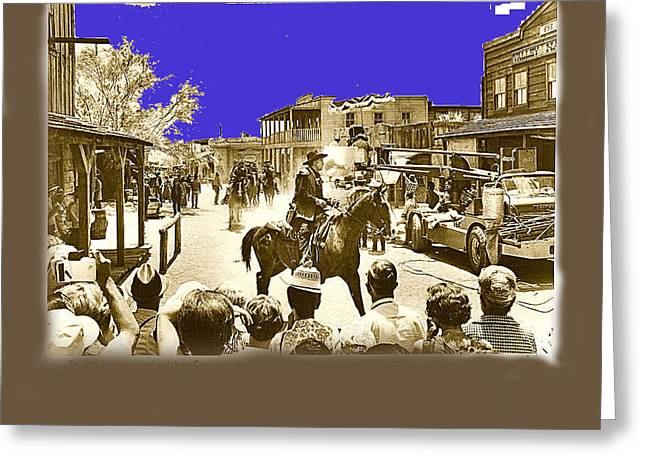 Cameron Mitchell Photographs Greeting Cards - Film Homage Cameron Mitchell The High Chaparral Main Street Old Tucson Arizona Publicity  c.1968 Greeting Card by David Lee Guss