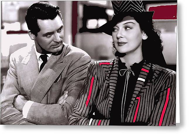 Howard Hawks Greeting Cards - Film homage Cary Grant Rosalind Russell Howard Hawks His Girl Friday 1940-2008 Greeting Card by David Lee Guss