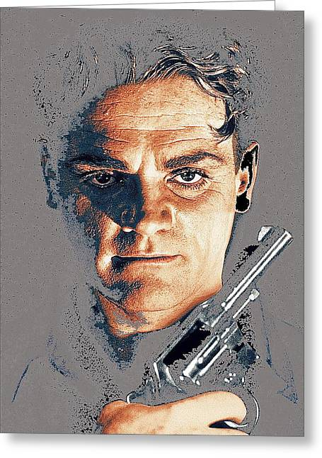 Angels With Dirty Faces Greeting Cards - Film homage close-up James Cagney Angels With Dirty Faces 1939-2014 Greeting Card by David Lee Guss