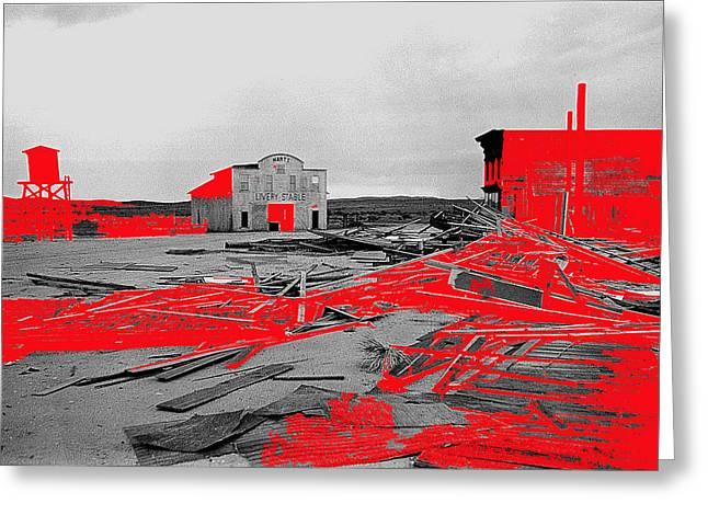 Film homage High Plain Drifter 1973 Monte Walsh set windstorm Mescal Arizona 1969-2012 Greeting Card by David Lee Guss