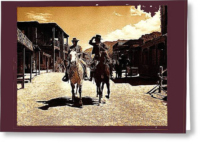 Cameron Mitchell Photographs Greeting Cards - Film homage Mark Slade Cameron Mitchell riding horses The High Chaparral Old Tucson Arizona Greeting Card by David Lee Guss
