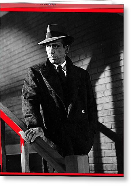 Maltese Falcon Greeting Cards - Film noir john huston humphrey bogart the maltese falcon 1941 color added 2012 Greeting Card by David Lee Guss