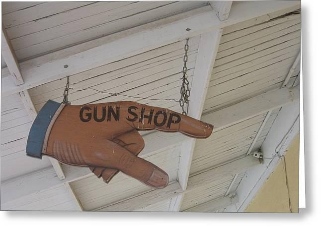 Lewis Gun Greeting Cards - Film Noir Joseph H. Lewis Gun Crazy 1950 1 Gun Shop sign Tombstone Arizona 2004 Greeting Card by David Lee Guss