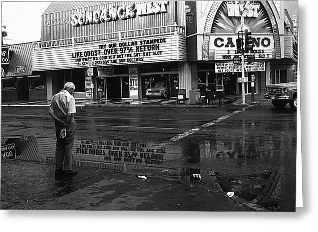 Richard Conte Greeting Cards - Film noir Jules dassin Richard conte Thieves highway rain sundance west Las Vegas Nevada 1977 Greeting Card by David Lee Guss
