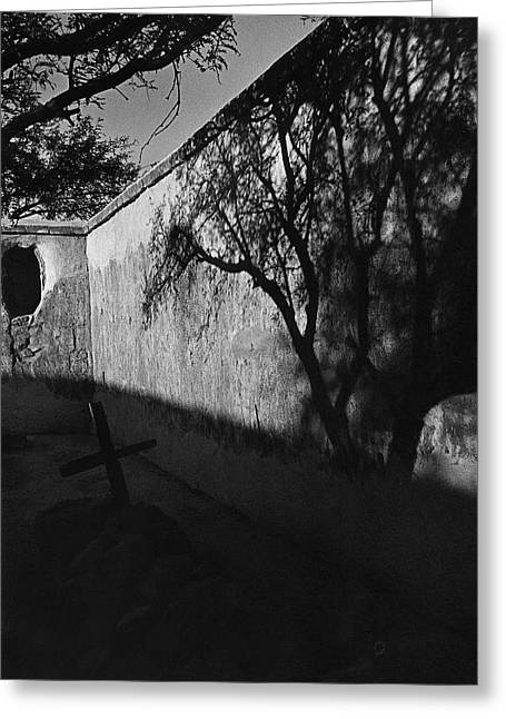 Vertigo Greeting Cards - Film noir Kim Novak Vertigo 1958 graveyard Tumacacori Mission Tumacacori Arizona 1979-2008 Greeting Card by David Lee Guss