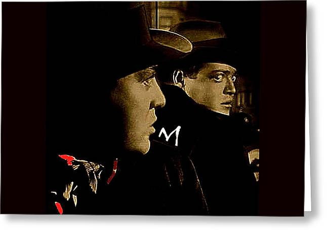 Lorre Greeting Cards - Film noir Peter Lorre Fritz Lang M 1931 3 publicity still  toned color added 2008 Greeting Card by David Lee Guss