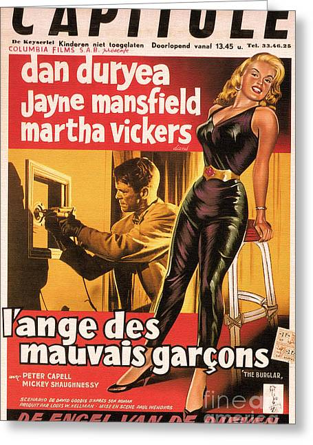 Film Noir Mixed Media Greeting Cards - Film Noir Poster  The Burglar Jane Mansfield Greeting Card by R Muirhead Art