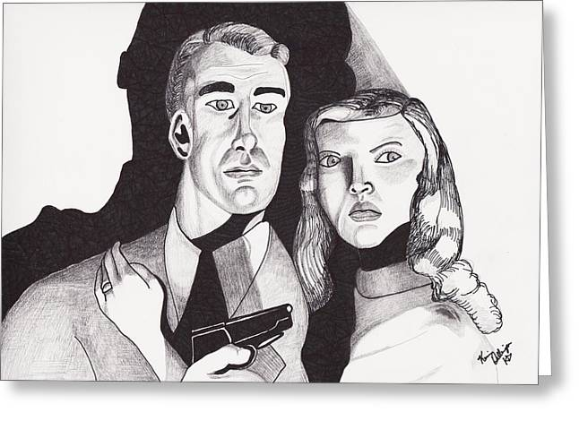Film Noir Drawings Greeting Cards - Film Noir with a Gun Greeting Card by Kevin Dellinger