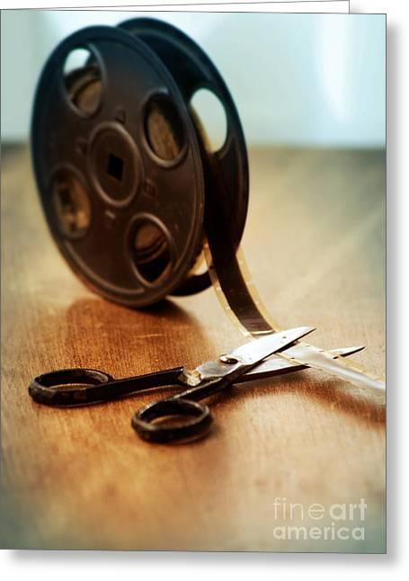 Film Reel And Scissors Greeting Card by Jill Battaglia