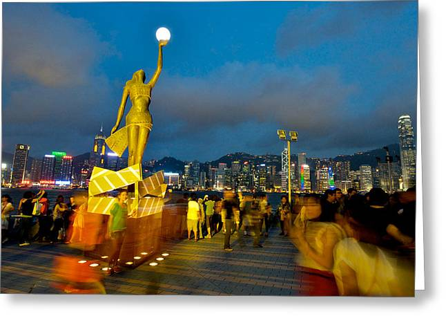 Tsim Greeting Cards - Film Statue at Avenue of Stars Greeting Card by Hisao Mogi