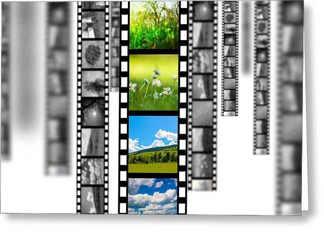 Blured Greeting Cards - Film strip Greeting Card by Bahnean Teodor Andrei