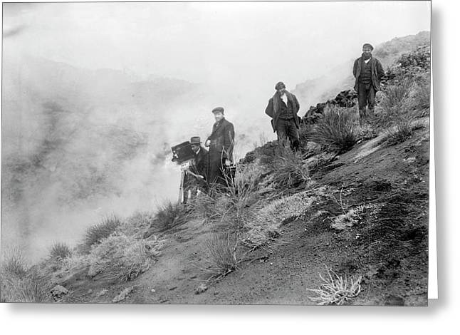 Filming Mount Etna Eruption Greeting Card by Library Of Congress