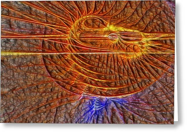 Manley Greeting Cards - Filter Effected Spiral Fractal Greeting Card by Gina Lee Manley