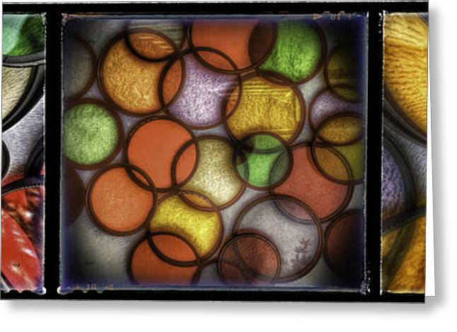 Most Greeting Cards - Filter Set Abstract Triptych Greeting Card by James A Crawford