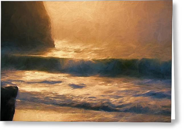 Foggy Beach Mixed Media Greeting Cards - Filtered Light Greeting Card by John K Woodruff