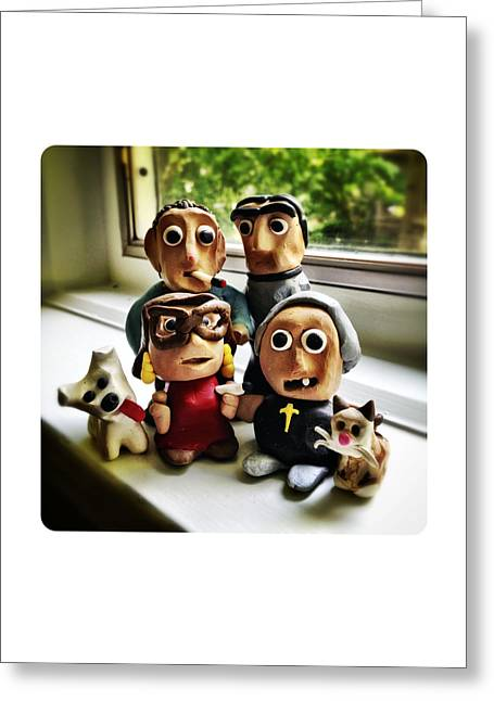 Dog Sculptures Greeting Cards - Fimo Family Greeting Card by Natasha Marco