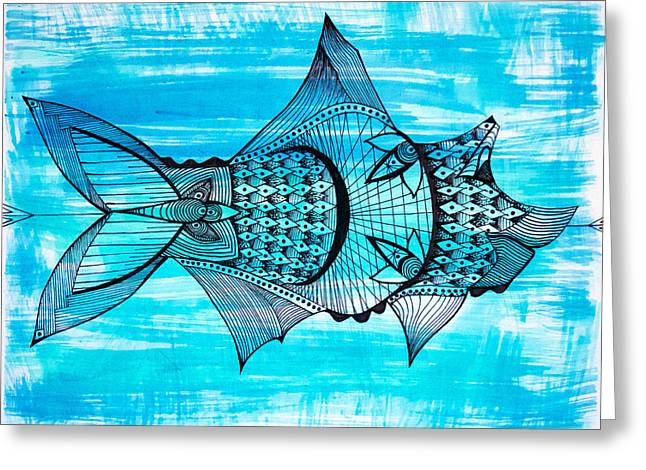 Experiment Drawings Greeting Cards - Fin  Greeting Card by Audrey Miller