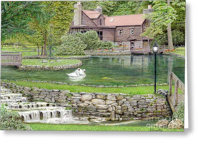 Stone House Drawings Greeting Cards - Fin n Feather at Seven Springs Greeting Card by Albert Puskaric
