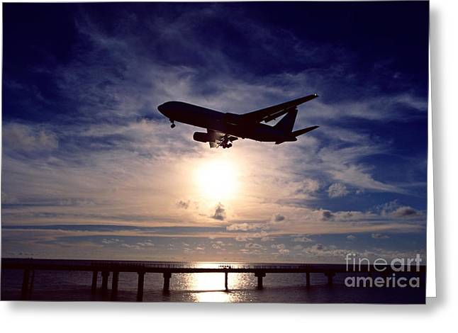 Dark Skies Greeting Cards - Final approach Greeting Card by Aiolos Greek Collections