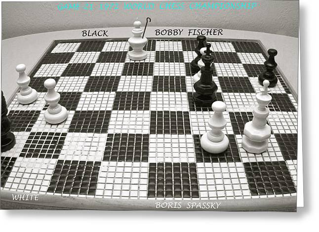 Shade Pyrography Greeting Cards - Final Game-21 1972 World Chess Championship  Greeting Card by DUG Harpster