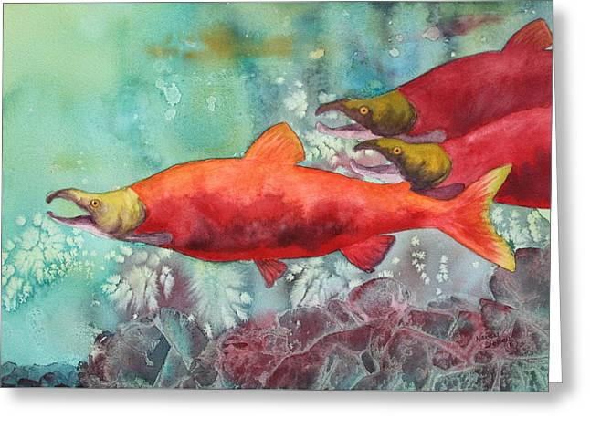 Salmon Paintings Greeting Cards - Final Journey Greeting Card by Nancy Jolley
