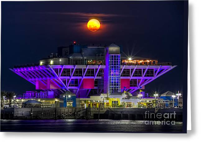St Petersburg Greeting Cards - Final Moon over the Pier Greeting Card by Marvin Spates