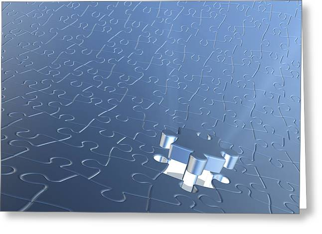 Strategy Mixed Media Greeting Cards - Final Piece Of The Jigsaw Puzzle Concept Greeting Card by Christos Georghiou