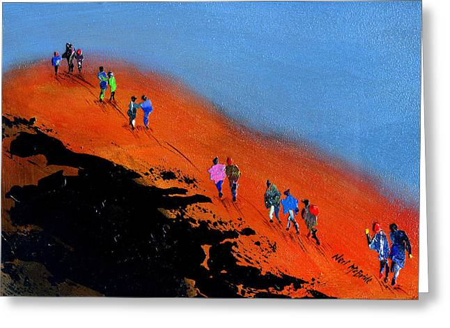 Family Walks Paintings Greeting Cards - Final Push for the Summit Greeting Card by Neil McBride