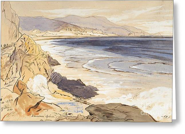 Ocean Shore Drawings Greeting Cards - Finale Greeting Card by Edward Lear