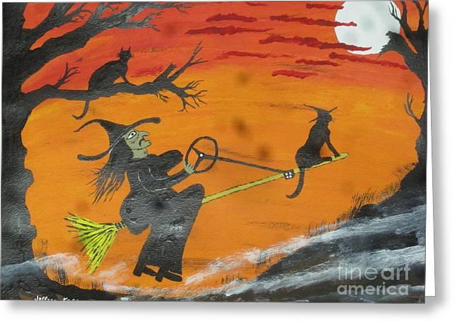 Steering Paintings Greeting Cards - Power Steering Halloween Broom. Greeting Card by Jeffrey Koss