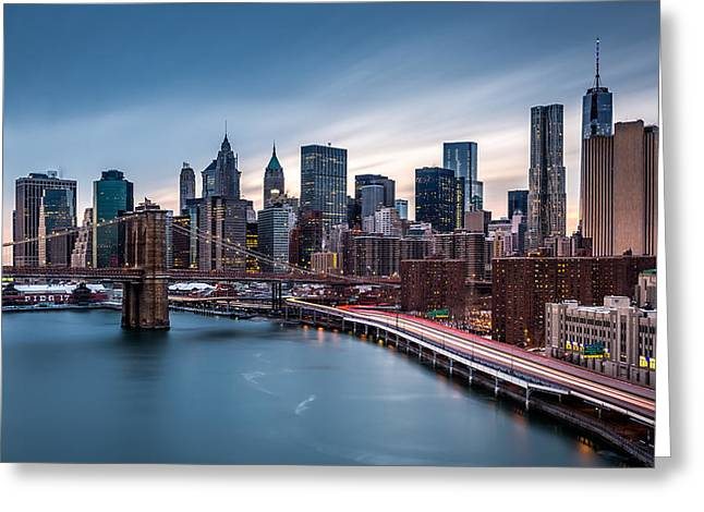 Fdr Drive Greeting Cards - Financial District at dusk Greeting Card by Mihai Andritoiu