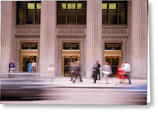 Business Movement Greeting Cards - Financial District, Chicago, Illinois Greeting Card by Panoramic Images