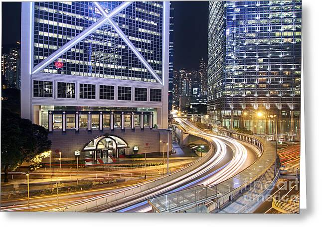 Hongkong Greeting Cards - Financial District of Hong Kong Greeting Card by Lars Ruecker
