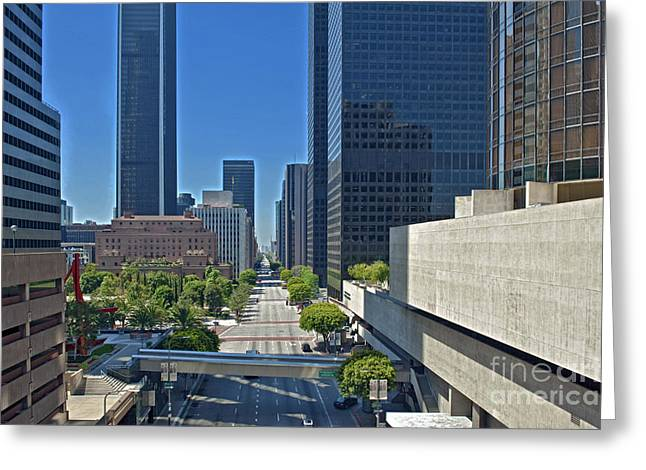 Financial District S. Flower Street Los Angeles CA Greeting Card by David  Zanzinger