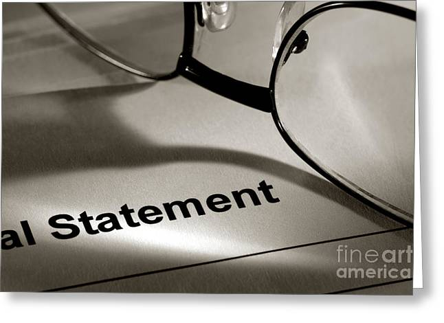 Budget Greeting Cards - Financial Statement Greeting Card by Olivier Le Queinec