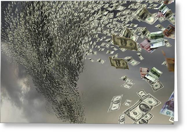 Out Of Control Greeting Cards - Financial storm, conceptual artwork Greeting Card by Science Photo Library
