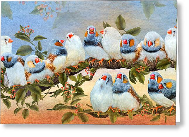 Bird On Tree Greeting Cards - Finch Family Tree Greeting Card by Carol Cavalaris