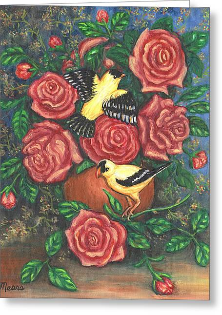 Floral Greeting Cards - Finch Fancy Greeting Card by Linda Mears