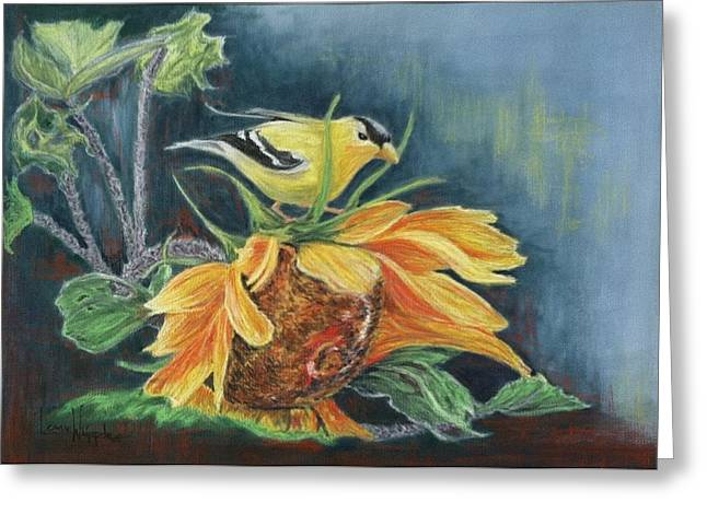Petals Pastels Greeting Cards - Finch on Sunflower Greeting Card by Leanne Whipple