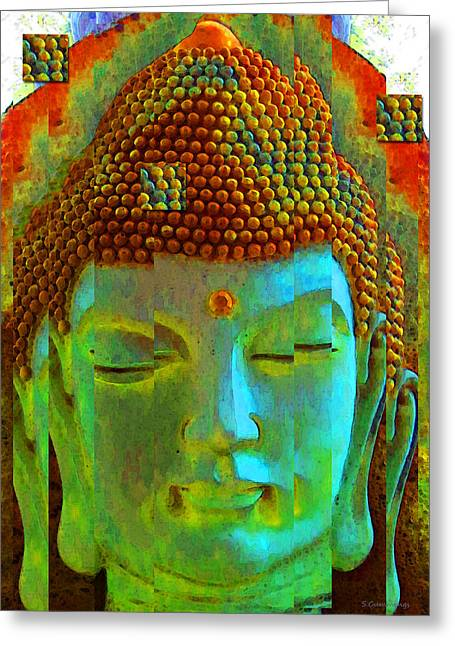 Buy Art Prints Greeting Cards - Finding Buddha - Meditation Art By Sharon Cummings Greeting Card by Sharon Cummings