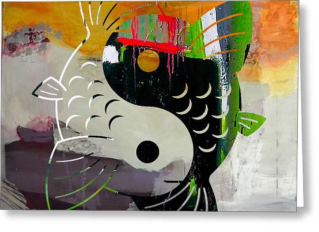 Yang Greeting Cards - Finding Good Balance Yin Yang Koi Greeting Card by Marvin Blaine