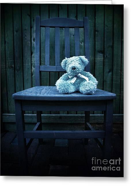 Deep Layer Greeting Cards - Finding Mr Blue Bear Greeting Card by Tara Turner