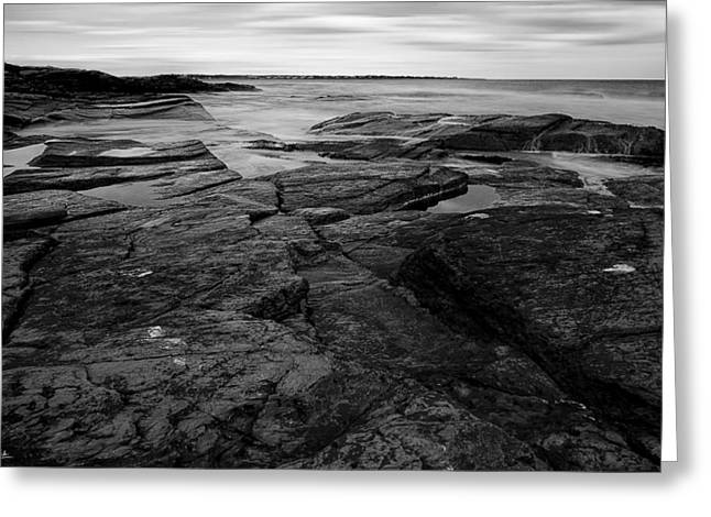 New England Ocean Greeting Cards - FInding Peace Black and White Greeting Card by Lourry Legarde