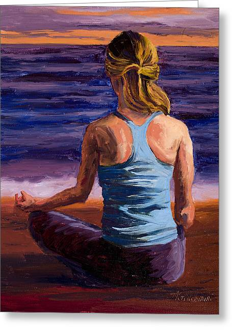 Calm Paintings Greeting Cards - Finding Peace Sukhasana Greeting Card by Mary Giacomini