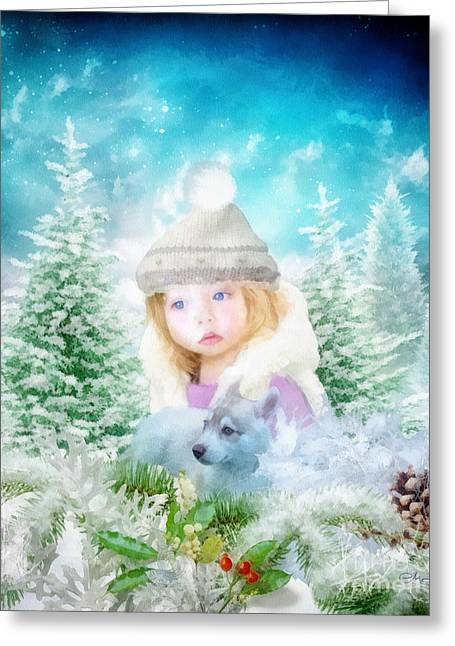 Husky Greeting Cards - Finding Santa Greeting Card by Mo T