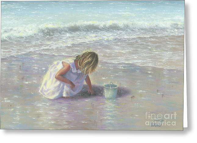 Vickie Wade Paintings Greeting Cards - Finding Sea Glass Greeting Card by Vickie Wade