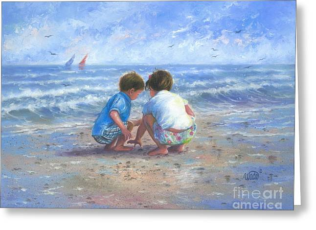 Vickie Wade Paintings Greeting Cards - Finding Sea Shells Brother and Sister Greeting Card by Vickie Wade
