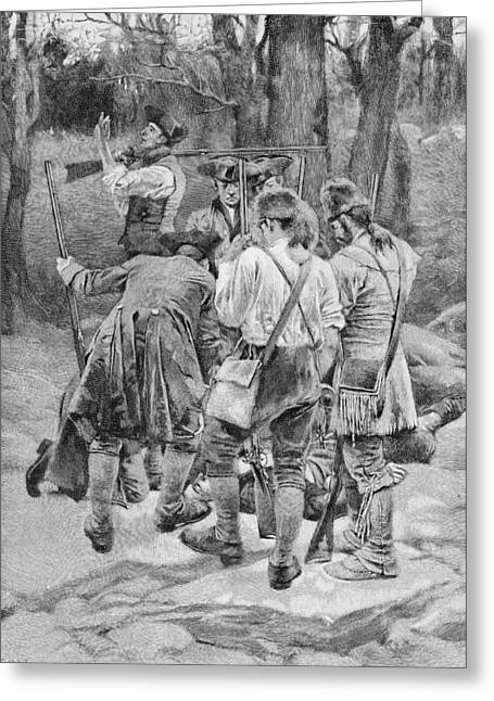 Brandywine Greeting Cards - Finding The Body Of One Of Their Companions, Scalped And Horribly Mangled, Engraved By F.h Greeting Card by Howard Pyle